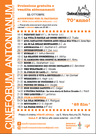 programma Cineforum Antonianum 2016 cinema a Padova